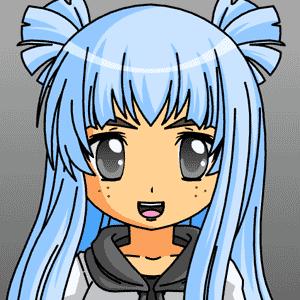blue haired anime girl