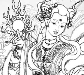 Deity Of Clouds Adult Coloring Book Generator