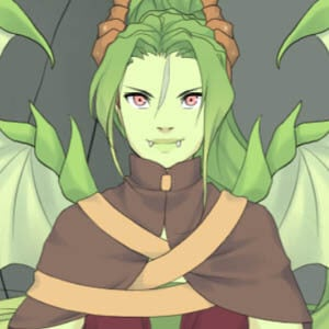 Green colored dragon lady