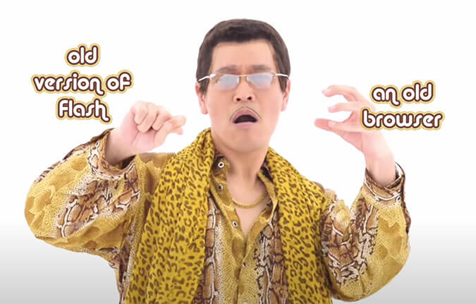 Pen-Pineapple guy holding an old browser and old Flash version