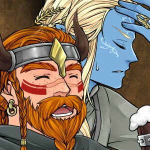 Dwarf and elf sharing a drink