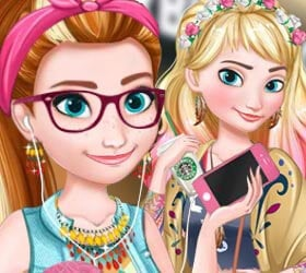 Disney Fashion Games Dress Up Hipster Anna and Elsa