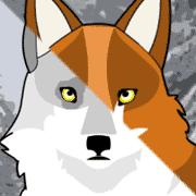 Grey wolf and orange fox