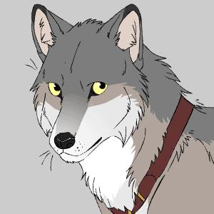 Realistic grey wolf