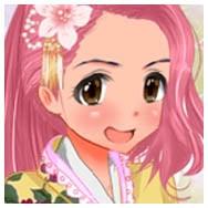 Cute pink haired girl in yellow kimono