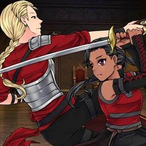 Two fierce female warriors