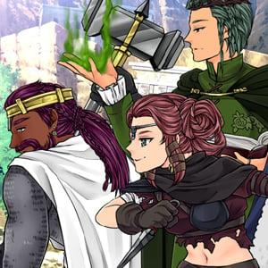Fantasy Manga cover featuring four friends