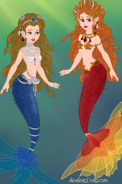 Mermaid adoptables 1 and 2 ~ The red one adopted by QueenGrania, the