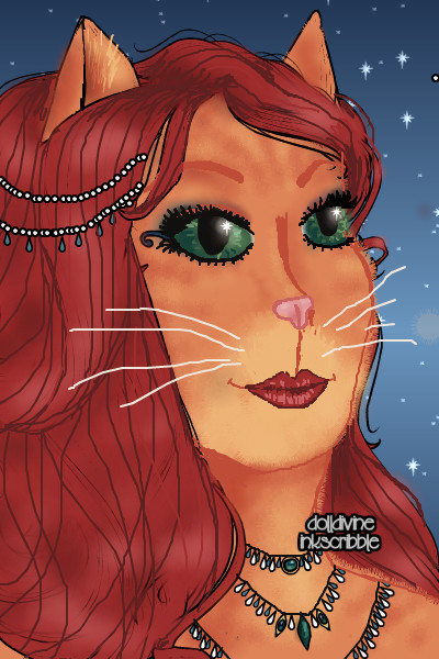 The Cat with Emerald Eyes ~ A try for a portrait of Cat Queen. Well,