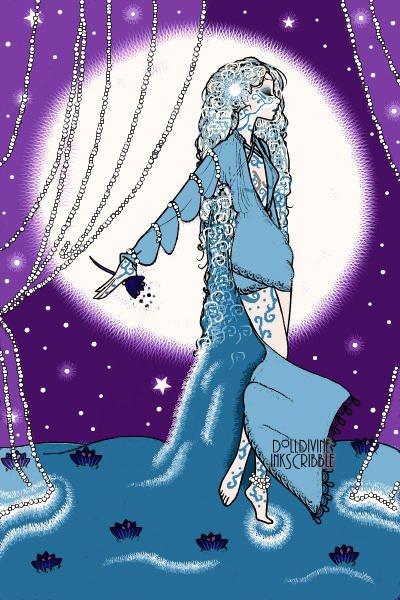Goddess of Tides ~ #goddess #moon #water #sky #night #erte