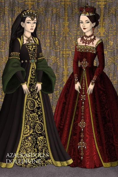 Katherine of aragon and anne boleyn by badalice
