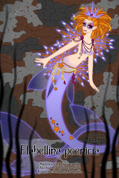 Nudibranch Princess Series: Flabellina p ~ A nudibranch-inspired #mermaid #princess