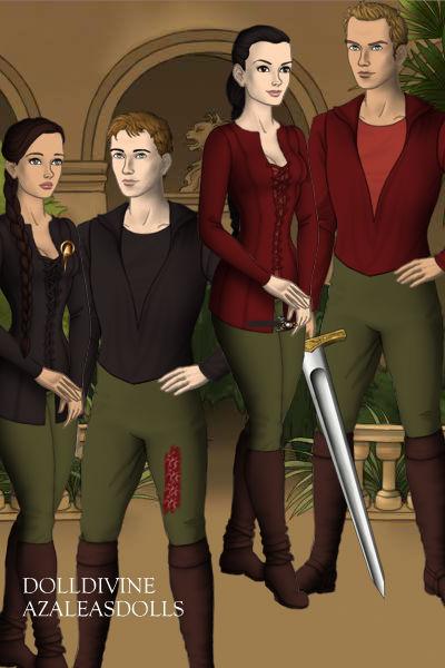 Katniss, Peeta, Cato, and Clove ~ by FionaCarter
