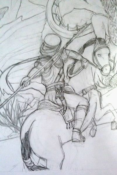 Knight vs Dragon (Detail) ~ Detail of an illustration I have to do f