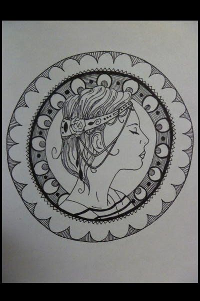 Self Portrait (Art Nouveau line art) ~