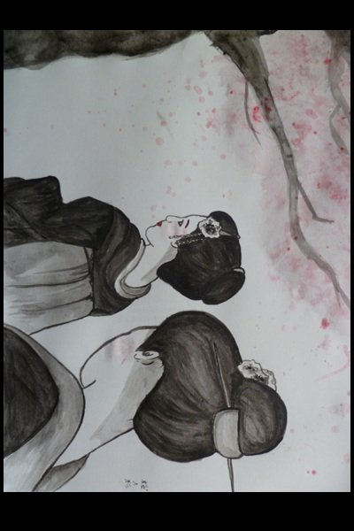 Blossom on the Wind ~ A small and quick geisha ink painting.