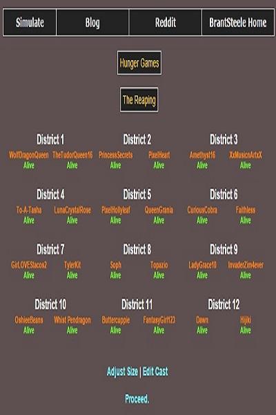Hunger Games Simulator ~ by LunaCrystalRose