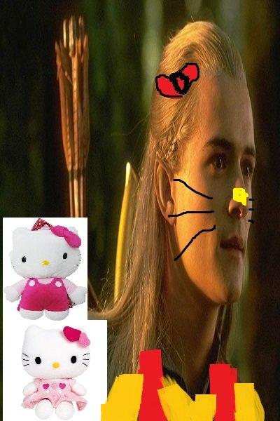Aragorn u suck. Hello Kitty is mine ~ #lordoftherings #lotr #thehobbit #joke #