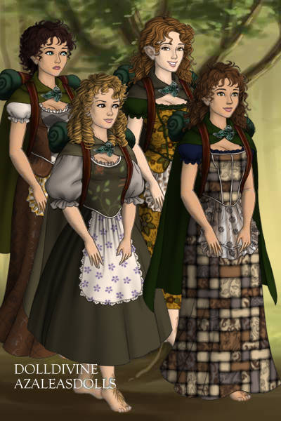 Fellowship Genderbent- The Hobbits ~ Not the best outfits. But I tried. 
