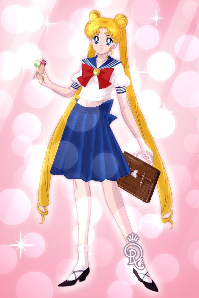 Usagi Tsukino after the school ~ Cute Usagi eating sweet ice cream ... af