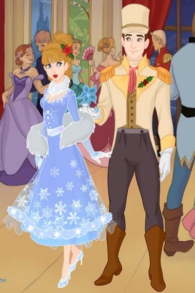 A Royal Christmas Ball.Cinderella And The Prince At The Royal Christmas Ball In