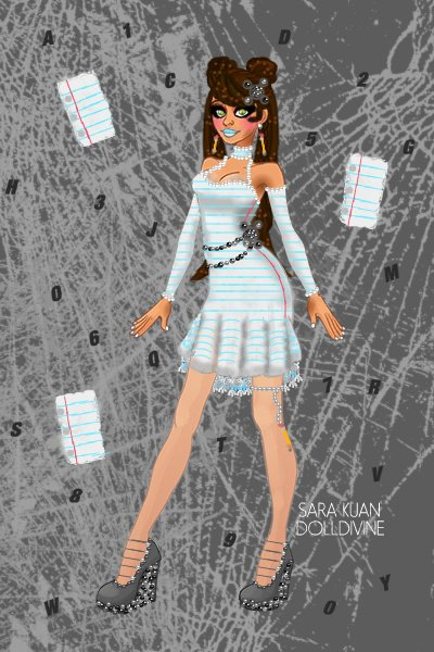 Hailey Carters-DDNTM UC Round 3: School  ~ My theme was Lined Paper. I made the dol