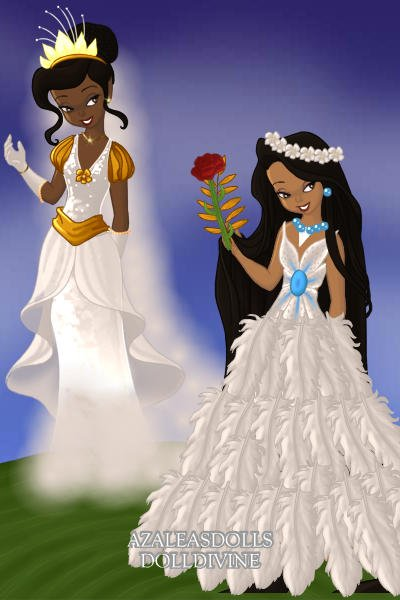 Tiana and Pocahontas wedding\'s dresses! ~