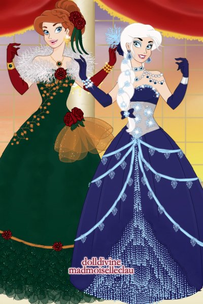 Elsa and Anna Christmas gowns! ~ #Christmas #Disney #Frozen #Elsa #Anna #