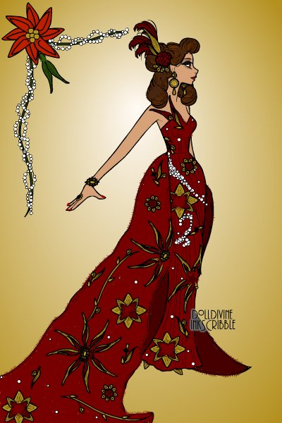 Haute Couture Christmas gown! ~ #Christmas #Gown #Pattern #Red #Gold