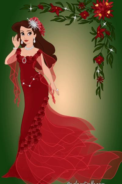 Greeting these Holidays... ~ #Christmas #Poinsettia #Red #Roses #Gown