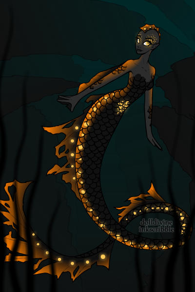 Black and orange deep sea mermaid ~ by AnimeGamerGirl