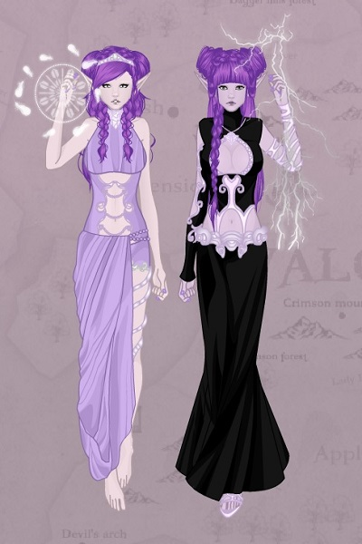 Moon-Elf Sisters ~ Aura (left) and Gaea (right), my moon-el