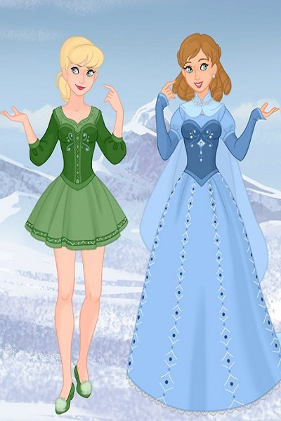 Tinker Bell and Wendy as Nordic Folk Pri ~ I decided to put them together since the