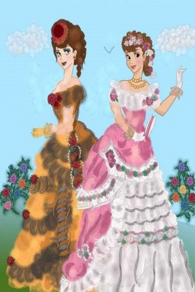 Victoria and Charlotte Enjoying the Flow ~ My attempt at creating Victorian bustles