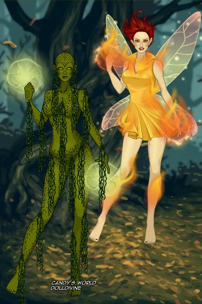 Swamp Thing and Firefly Fairy ~ For @DysMalLexia's #Monsters'#Ball: Swam