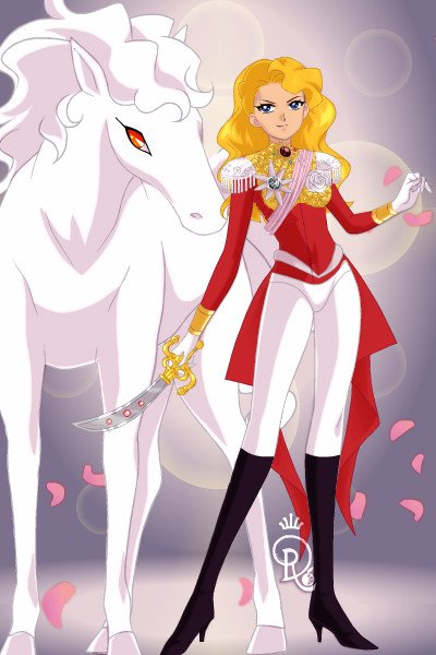Lady Oscar with her horse ~ A Female Prince Charming.