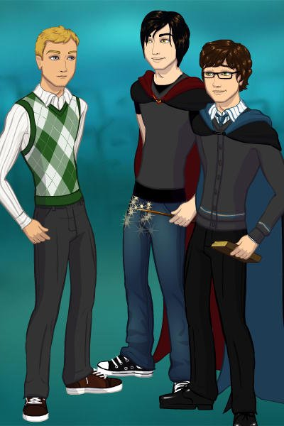 Marcus, Rhys, and Cas at Hogwarts. ~