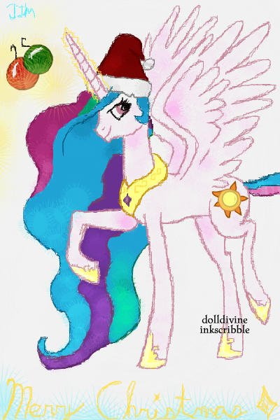 Celestia wishes you a Merry Christmas~ F ~ #Gift #Christmas #MyLittlePony