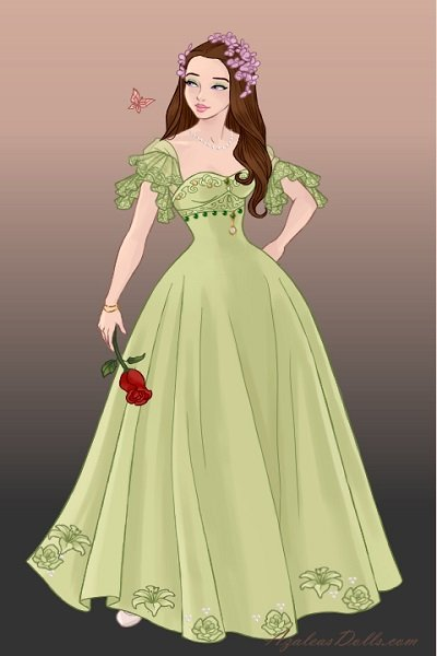 Green is lovely change from red ~ Ade in a green ball gown. #Oc