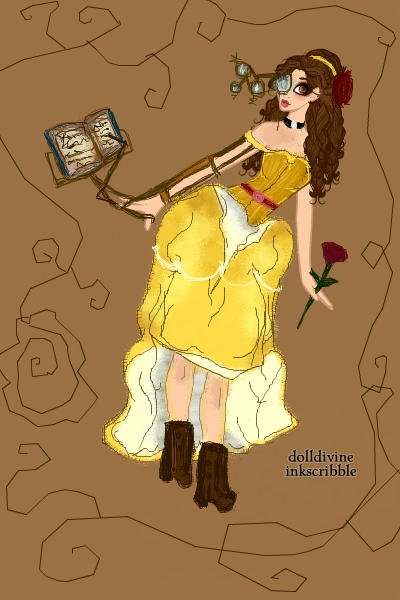 Disney Steampunk: Belle ~ Belle's arm device is a book stand and p