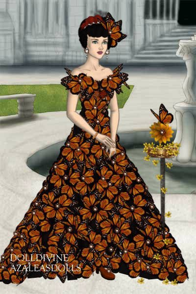 autumn flower dress ~ this Dress i made it with the Butterflys